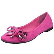 Womens Ballet Flats Studded Bow Tassel Accent Faux Suede Shoes Pink