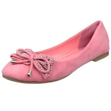 Womens Ballet Flats Studded Bow Tassel Accent Faux Suede Shoes Coral