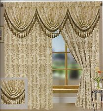 Tiffany Jacquard Curtains with Gold Accent, Rod Pocket Top