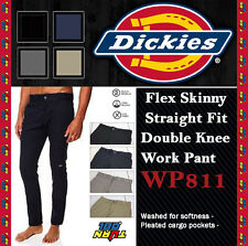 MENS WP811 DICKIES SKINNY STRAIGHT FIT DOUBLE KNEE WORK PANTS CELL POCKET BLACK