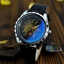 Men's Classic Automatic Skeleton Mechanical Leather Band Bracelet Wrist Watch