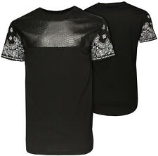 Mens Soul Star PU Leather Patch Oversized Long T Shirt   Baggy Top