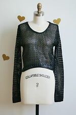 Black Mesh Sweater Leather 80s Style Fashion NWT S M Cropped Long Sleeve