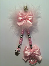 Beautiful Double drop pram charms with marabou feathers, Choose your colour