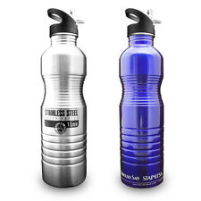 1 Liter / 32 oz Reusable Stainless Steel Metal Water Bottle by New Wave Enviro