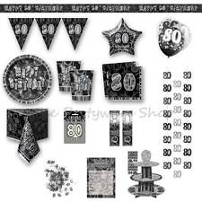 80TH BIRTHDAY Black Glitz Party Supplies Tableware Banners Balloons Decorations
