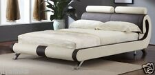 MODERN ITALIAN DESIGNER DOUBLE & KING SIZE FAUX LEATHER BED-BLACK & WHITE OR RED