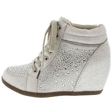 Silver & Rhinestone Embellished Hidden Wedge Sneakers Heels Lace up Shoes Size