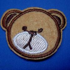Teddy Bear Head Iron on Sew Patch Applique Badge Embroidered Biker Applique Cute