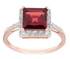 10k Rose Gold 1.65ct Square Garnet and Pave Diamond Ring