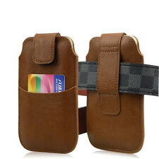 Luxury PU Leather Holster Belt Bag Case Cover Pouch For iPhone Phone Samsung