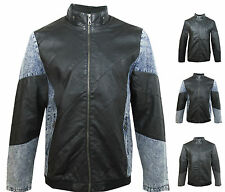 Fashion New Mens Biker Stand Collar  Faux Leather & Denim jacket coat Size LJ004