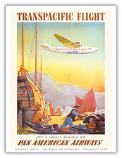 Transpacific Flight Pan Am Vintage Airline Travel Art Poster Print
