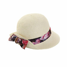 Womens/Ladies Straw Cloche Hat with Scarf, 2 colours packable, 57cm