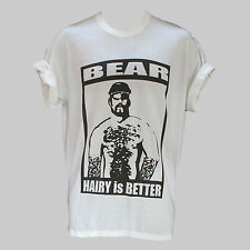 CLUBBING PARTY FUN GAY HAIRY BEAR UNUSUAL T-SHIRT WHITE S-XXXL