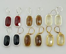 Joan Rivers Square Faceted Crystsal Drop Dangle Earrings, NEW & SIGNED