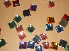 25 Square Acrylic Rhinestones Flat Back Gems 10mm Various Colours
