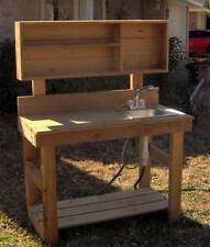NEW 4FT BIG ALL CEDAR POTTING BENCH GARDENING BENCHES PLANTING STATION WITH SINK