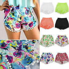 Fashion Womens High Elastic Waist Floral Prints Shorts Mini Short Pants Pom Pom