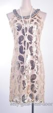 1920's Vintage Great Gatsby Sequin Gold Dress Art Deco Party Clubwear  SGND 3284