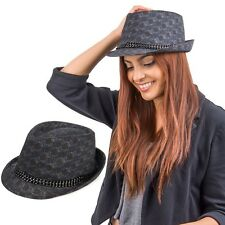 Graphite Unisex Panama Fedora Narrow Brim Chain Band Straw Hat Jazz Trilby Cap