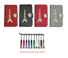 For HTC Nokia bling diamond Tower Wallet Magnetic PU Leather case cover + stylus