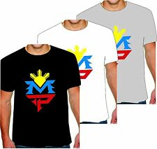 Manny Pacquiao T Shirt OR TANK TOP MP BOXING 3 COLOR LOGO BLACK WHITE OR GRAY