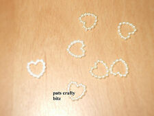 50 Pearl Holo Heart Beads Wedding Craft Cards 10mm Various Colours