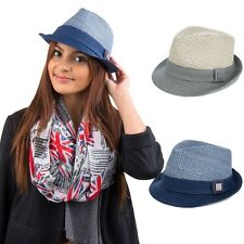 Unisex Women Men Panama Fedora Narrow Brim Straw Beach Sun Hat Jazz Trilby Cap