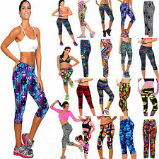 Femmes High Waist Fitness YOGA Sport Pantalons Printed Stretch Cropped Leggings