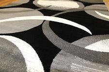 MODERN ABSTRACT BLACK GRAY WHITE 5X7 8X11 PERSIAN AREA RUG