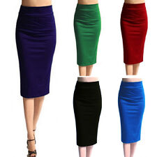 Women Bodycon Fit Solid Color Below the Knee Business Office Pencil Midi Skirt