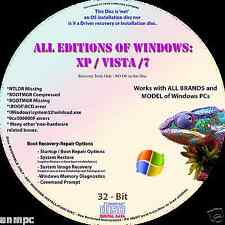 Windows 7 Recovery Restore Disc 32 bit Bootable Disc CD - ALL BRANDS