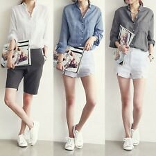 New Womens Casual Button Down Long Sleeve Cotton Linen Loose Shirt Blouse Top Sz