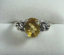 1.89ct Oval Natural Citrine 925 Sterling Silver Victorian Style Solitaire Ring