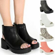 Women Block Heel Chunky Platform Cleated Sole Cut Out Ankle Boots Shoes Sandals