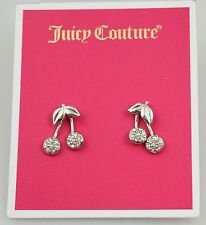 Juicy Couture Silver Tone Crystal Pave Cherry Drop Earrings NWT