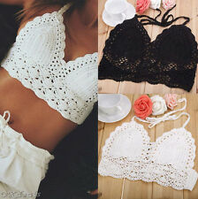 Women Crochet Lace Bralette Knit Bra Boho Beach Bikini Halter Cami Tank Crop Top