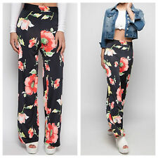 NEW WOMENS LADIES FLORAL PRINT ELASTICATED WAIST CASUAL PALAZZZO TROUSERS PANTS
