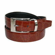 New CTM Mens Leather with Removable Buckle Croc Print Dress Belt