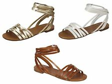 New Women Lace Up Tie Wrap Around Ankle Strap Gladiator Flat Sandals Sz 6-11
