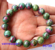 Natural Ruby in Zoisite Round Beads Stretch Bracelet 11mm