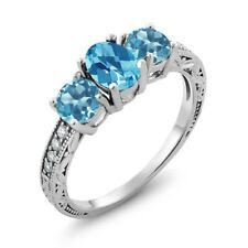 2.07 Ct Oval Checkerboard Swiss Blue Topaz 925 Sterling Silver Ring