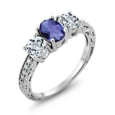 1.77 Ct Oval Checkerboard Blue Iolite White Topaz 925 Sterling Silver Ring