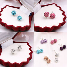 The Fine 8mm Shamballa Sparkly Crystal Pave Clay Ball Stud Earring Hot Fashion