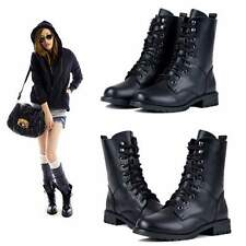 Women Girl Cool Black Military Army PUNK Knight Lace-up Short Boots Shoes New
