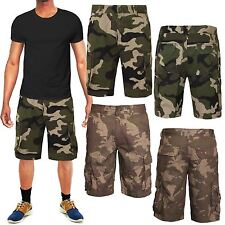 MENS CARGO CAMO SHORTS ARMY WORK COMBAT CASUAL PANTS CAMOUFLAGE GREY GREEN 28-36