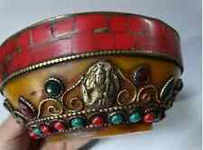 Oriental Hand carving buddha Tibetan Buddhism copper bowl inlay turquoise coral