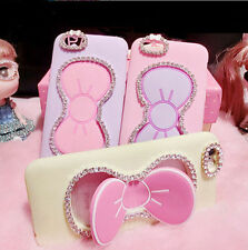 3D Diamond Crystal Bowknot Stand Rubber Soft Case Cover for Samsung Galaxy Phone