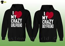 Couple Hoodie  I Love My Crazy Boyfriend Girlfriend with RED HEART - Couple Hood